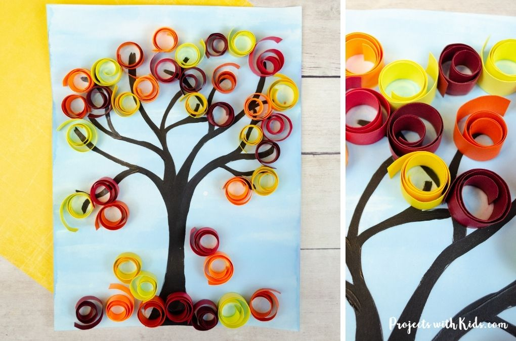 Fall tree art project using paper quilling