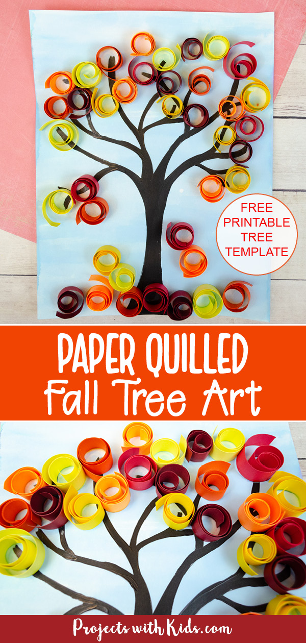 Fall tree art with paper quilling for kids