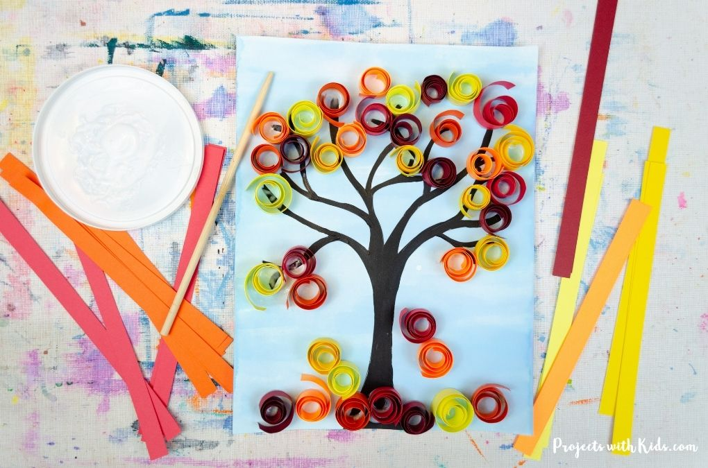 Paper quilled autumn tree art