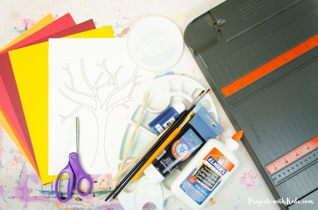 Supplies needed for a quilled fall tree art project
