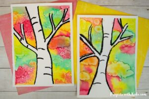 fall birch tree painting for kids